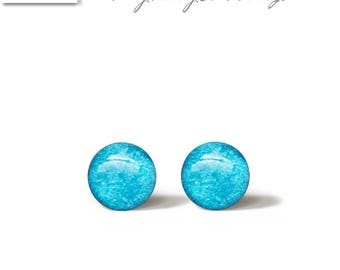 TURQUOISE Stud Earrings 6 or 4 or 3 mm Mini Tiny Shimmery - Gold Plated Stainless Steel Posts plus High Quality Epoxy Resin - 182