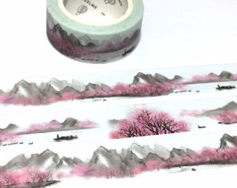 mountains scenery washi tape 7M grey tone pink tone mountain hill ink wash painting forest Masking sticker tape fairy tale scenes landscape