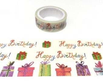 birthday washi tape 5M birthday party gift colorful present box cute box gift box christmas box deco happy birthday sticker tape decor gift