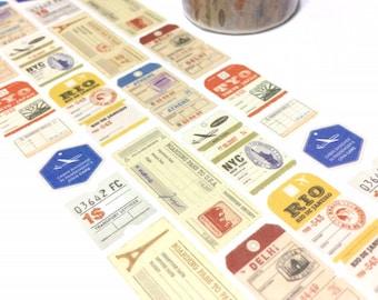 vintage ticket washi tape 8M x 2cm boarding pass passport airplane tickets label sticker tape travel planner retro label tag classic icon