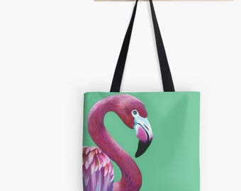 Green flamingo tote bag | green flamingo shopping bag | flamingo handbag | flamingo shoulder bag | pink flamingo bag