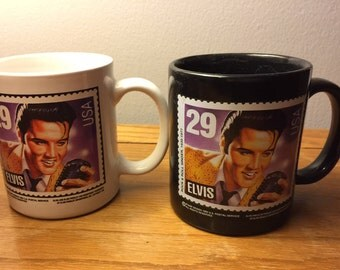 Vintage Elvis Postage Stamp Mugs/Set of Two Mugs/King of Rock and Roll