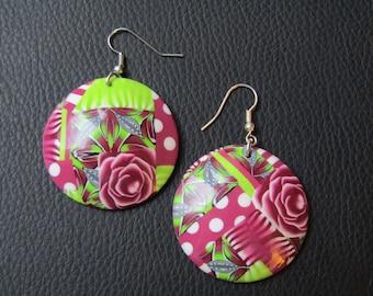 Round earrings. Earrings dangle polymer.