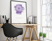SAHASRARA - Crown Chakra Poster. Spiritual gifts, violet watercolor print, yoga studio decor, zen art, yoga printable, digital download