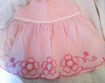 Baby Girls Gingham Dress Pink and White with Daisies