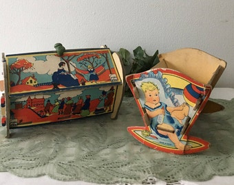 1920's Gropper Toys Sewing Basket and Cradle