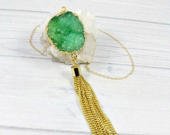 Druzy Necklace, Long Necklace, Boho Necklace, Gemstone Necklace, Statement Necklace, Raw Stone, Sparkly Jewelry, Green, Gold, Blue, Pink