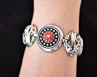 "Vintage Ornate Rhinestone Articulated Link Statement Bracelet 8"" Silver Tone Red Black Retro Boho Costume Jewelry"