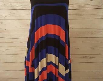 Bright Bold Striped Sleeveless Knit Dress With Long Side Hem