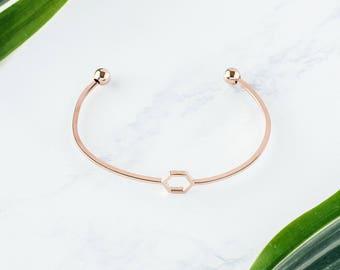Rose Gold Hexagon Bracelet