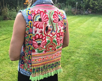 Hmong Embroidered Denim Waistcoat with Vintage Hill Tribe Textiles and Beading