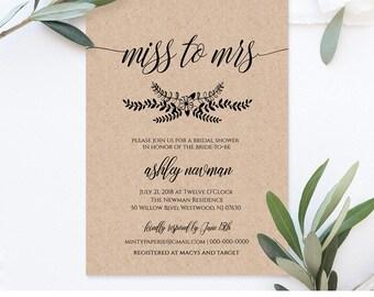 Bridal Shower Invitation, Miss to Mrs, Instant Download, DIY Rustic Kraft Invite, Printable Wedding Shower Template, Editable #NC-104BS