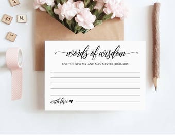 bridal shower advice cards template - words of wisdom etsy