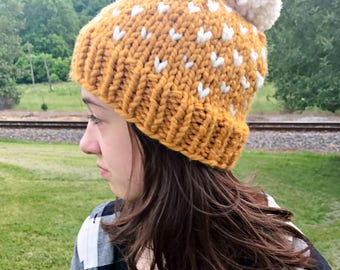Pom Pom Hat for Kids, Adults, Winter Chunky Beanie, Hat Chunky Womens, Knitted Wool Hat for Winter, Chunky Wool Beanie, Fair Isle Hat
