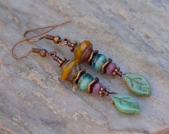 Forest Walk Earrings, Czech Glass Beads Earrings, Leaf Earrings