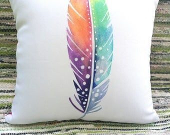 Original watercolor - Feather cushion cover