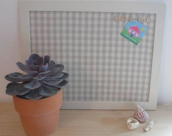 Pin board with hand painted frame and neutral checked fabric