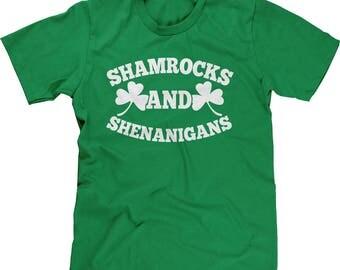 Shamrocks and Shenanigans - White Mens Short Sleeve T-shirt -SPD St Patricks Day Clover Irish Lucky Green Drinks -DT-01213