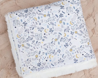 Baby Boy Blanket, Luna Fox Tales with Ivory Minky Back, blue foxes, crescent moons, stars, baby shower gift, nursery decor