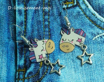 Earrings in sterling silver 925 Unicorn kawaii crazy crazy plastic charm and hand-painted star