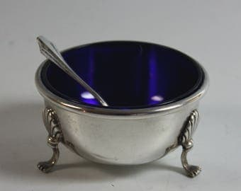 Sterling Silver Salt Cellar with Blue Glass Lining and Sterling Silver Salt Spoon