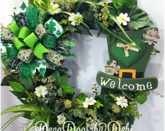 St.Patrick's Day grapevine floral welcome wreath, St.Patrick's Day wreath, St.Patrick's decor, St.Patrick's decorating, Front door wreath