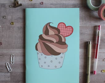 NOTEBOOK. A5 Cute Cupcake Notebook. Soft 300 gsm Card Cover. 40 lined pages. Matte lamination pleasant to the touch.