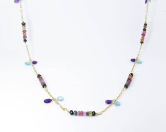 Necklace 925 Silver gold plated set magnificent semi-precious Tourmaline amethyst and Apatite blue stones