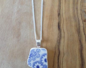 Dainty Floral Blue and White Beach Pottery Necklace Pendant, Northumberland, Sea Pottery, Beach Jewelry, Pottery Shard, Sterling Silver