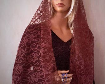 Warm Cocoa Brown Lace Rectangle Mantilla Chapel Veil | Lace Veil | Church Veil | Brown Chapel Veil | Catholic Veil | The Veiled Woman