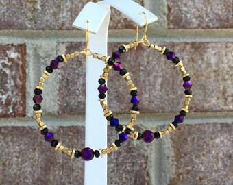 Metallic Purple/ Czech Crystal Beads/ 2 Inch Gold Hoops/ Beaded Hoops/ Brass Beads/ Purple/ Gold Beads