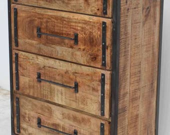 Industrial Cast Iron And Mango Wood Distressed Dresser