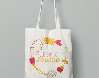 Personalized tote bag, Canvas Tote Bag, flowers bag, Custom Tote Bag, Kids Bag, Tote Bag, custom gift