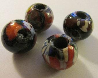 Nepalese Handmade Artisan Glass Ball Beads, 15mm, Set of 4