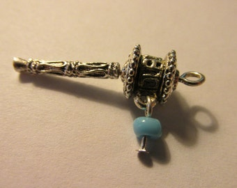 "Tibetan Silver Mini Om Prayer Wheel Charm-Pendant, 1 1/4"""