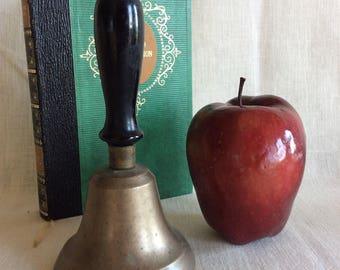 Vintage brass school teacher classroom desk table bell office decor