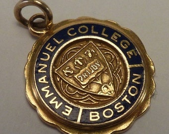 "14K Yellow Gold ""Emmanuel College"" Boston charm"