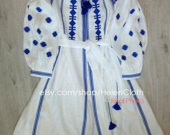 Vyshyvanka Ukrainian Linen Embroidered White Dress In Bohemian Style White Mexican Dress Kaftan Abaya Free shipping