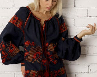Ukrainian Vyshyvanka Linen Embroidered Blouse Ukraine Clothing Mexican blouse Embroidered shirt Boho blouse Free shipping