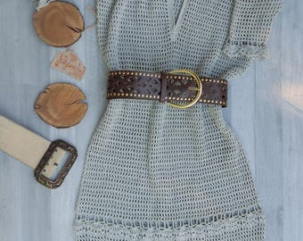 Silver Crochet Deep Plunge Dress, Grey Dresses, Plunge Dress, V Neck Dress, Party Dress Coctail Midi Dress, Short Sleeve Dress, Summer Dress