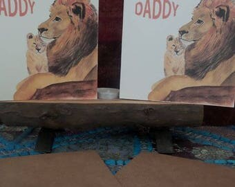 Lion and cub personalised card, father's day, birthday