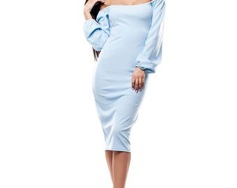 Blue Off Shoulder Bodycon Dress Long Sleeve Dress Bardot Dress 50s Bardot Dress Blue Pencil Dress Summer Party