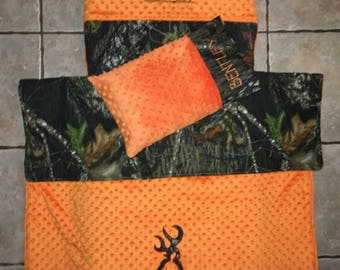 Custom appliqued camo nap mat cover, blanket, pillow and pillow case