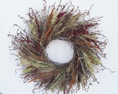 earth tones dried flower and twig wreath/burgundy. bronze and tan dried flower and twig wreath/curly twig wreath/wild wreath/rustic wreath