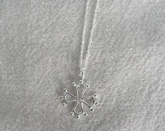 "Silver necklace ""Occitane cross"""
