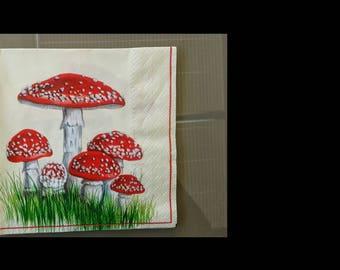 set of 2 mushroom amanita paper napkins
