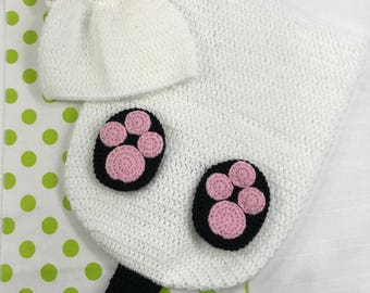 Baby Cat Cocoon, Hat & Booties Set with Tail, Crocheted, Customizable Colors, MADE TO ORDER, Baby Photo Prop, Baby Shower