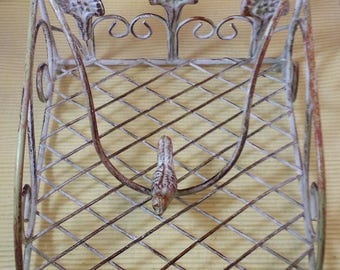 Vintage wrought iron desk paper weight holder bird paper weight, desk organizer French style wrought iron bird shabby chic cottage chic
