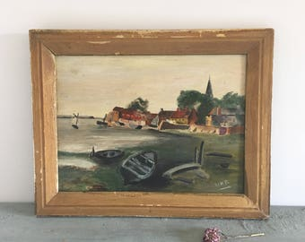 Vintage oil painting on board, Norfolk boats, wooden gold painted frame.