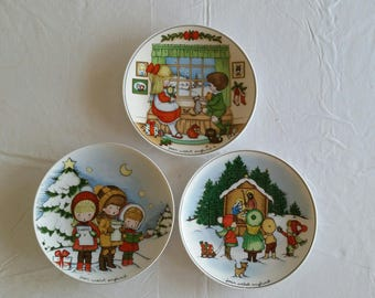 "3 limited edition antique collector signed plates 1981 - 1983 by joan walsh anglund - 7 3/4"" made in w germany walter / ebeling - art"